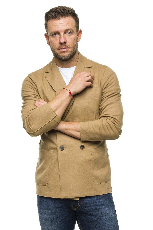 Giacca doppiopetto operata in lana e cashmere