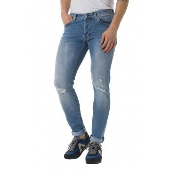 Jeans Dylan chiaro strappato  Azzurro