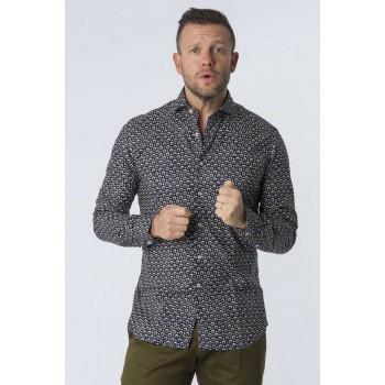 Camicia Fantasia su twill  Blu