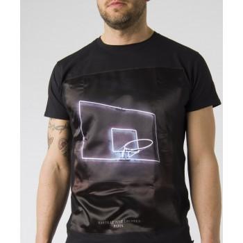 T-shirt stampa davanti Neon  Nero