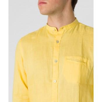 Camicia Lino collo coreana  Giallo