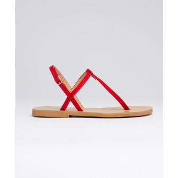 Sandalo Archita Camoscio  Rosso