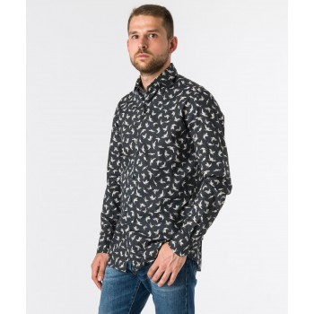 Camicia Fantasia Thomas Mason  Nero