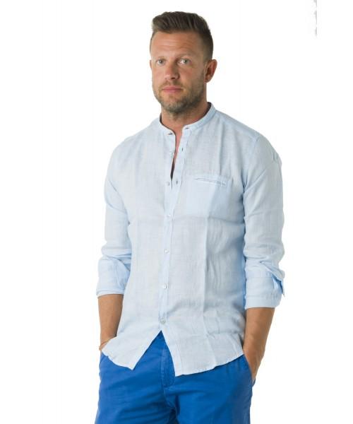 Camicia Coreana lino  Azzurro