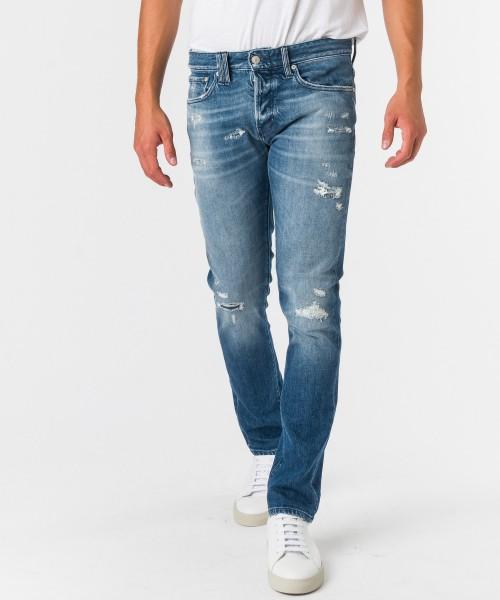 Jeans Bone stretto strappi  Blu