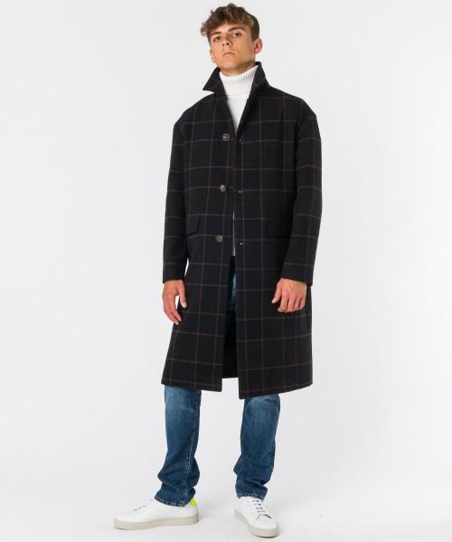 Cappotto Cavallino check  Blu