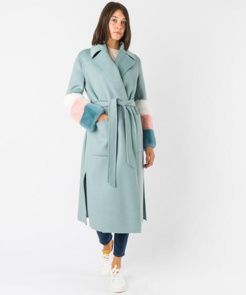 Cappotto Coat manicotto fur Azzurro
